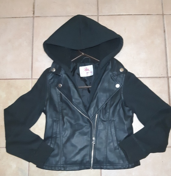 """Justice Other - Justice brand """"biker style"""" leather jacket w/hood"""